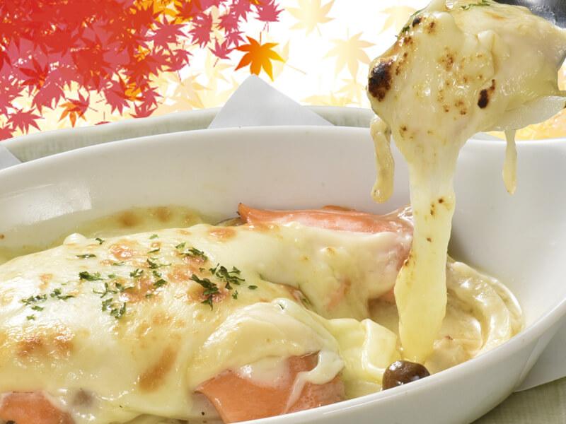 サーモンと木の子のチーズ焼の料理写真